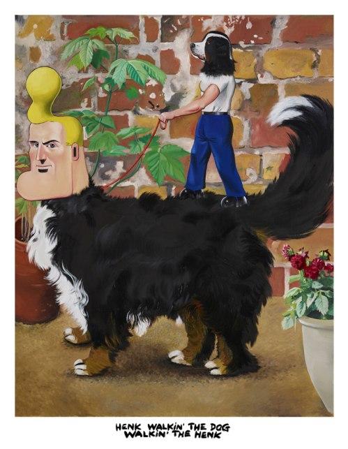 schilderij-Henk-walkin-the-dog-walkin-the-henk