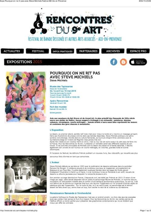 Expo Pourquoi on ne rit pas avec Steve Michiels Festival BD Aix